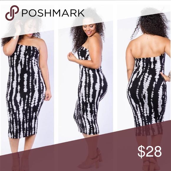 Plus size black tube top dress