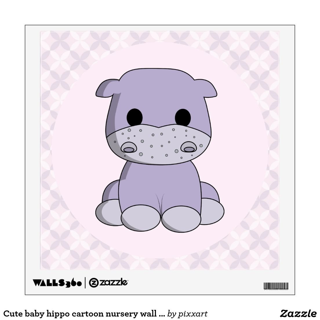 Cute baby hippo cartoon nursery wall decal Nursery wall