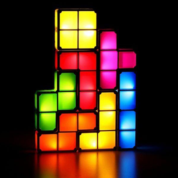 Tetris Puzzle Jigsaw Diy Toy Retro Style Constructible Home Desk Led Lamps Light Led Lamp Diy Led Lighting Diy Diy Design