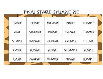 Final Stable Syllable Center Game | Syllable, Teachers ...