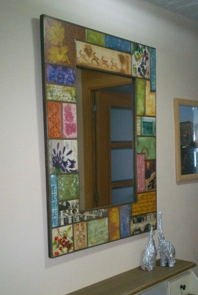 Marco De Espejo Pintado Con Texturas Y Decoupage