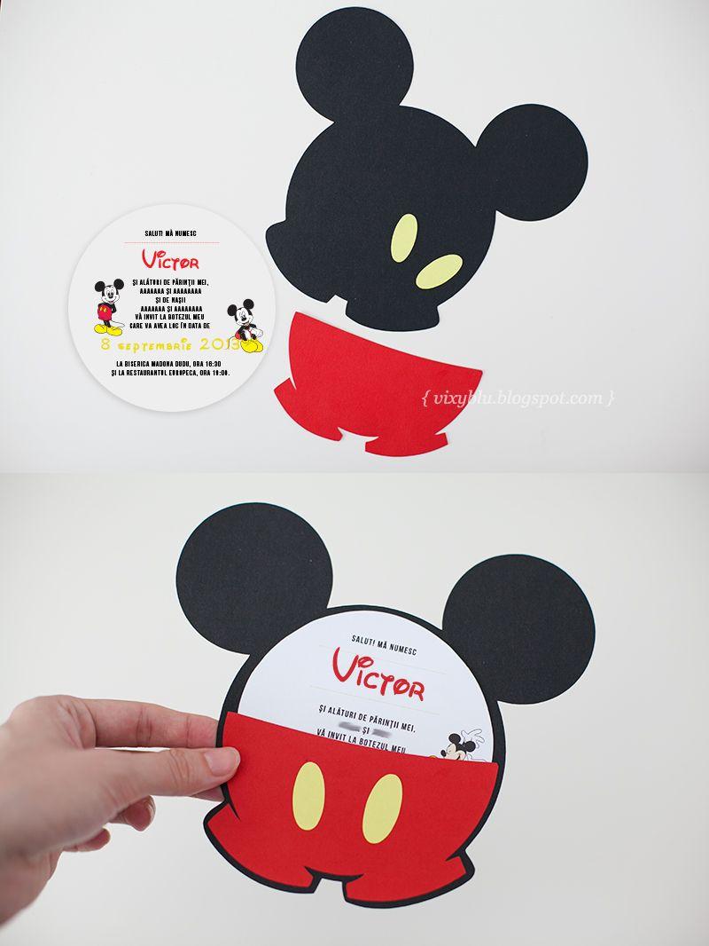 Invitatii Mickey Mouse, invitatii botez handmade, Mickey | Nice ...