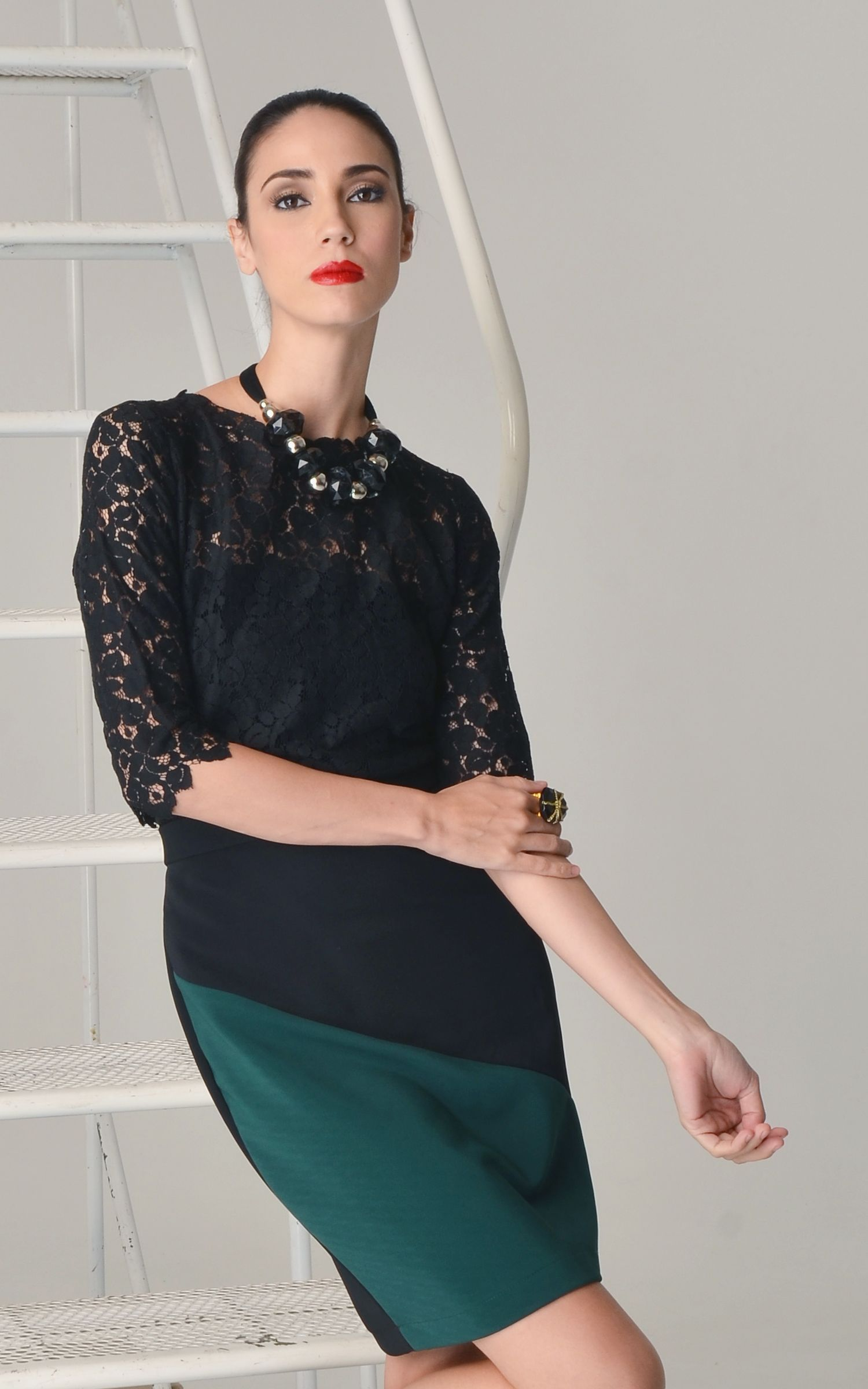 Black Lace Top, Color Blocked Skirt