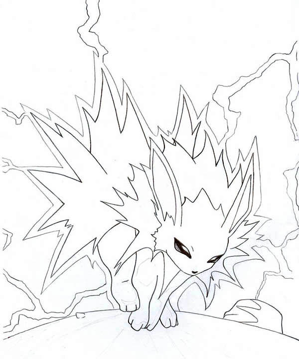 Jolteon With Lighting Coloring Page Kids Play Color Coloring Pages Coloring Pictures Light Colors