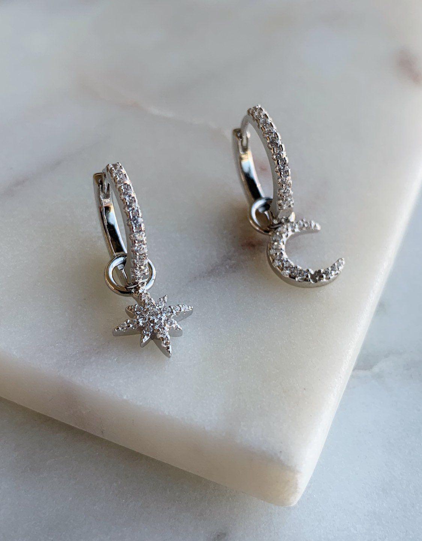 Star And Moon Hoop Earrings North Star Hoop Earrings Etsy Gold Bar Earrings Diamond Shape Earrings Huggies Earrings