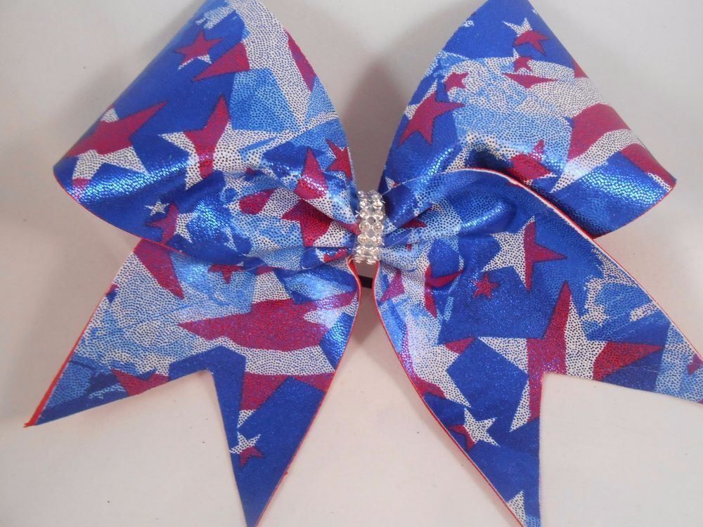 Red White Blue Patriotic Stars Cheer Bow BlingItOnCheerBows  #BlingItOnCheerBowz