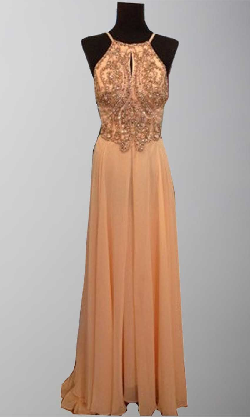 Sexy open back beading belly band long prom dresses ksp prom