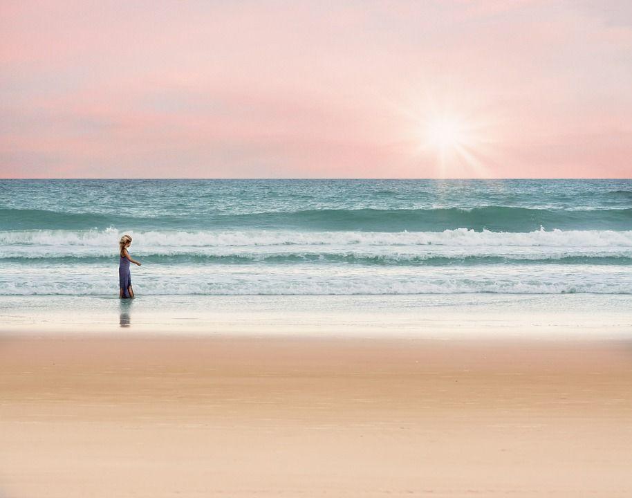 Oceano, Menina, Andar, Mar, Verão, Água, Férias, Sol