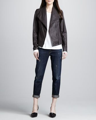 37d01d287fbe4b Asymmetric Leather Jacket, Long-Sleeve Slub Tee & Distressed Cuffed Relaxed  Jeans by Vince at Neiman Marcus.