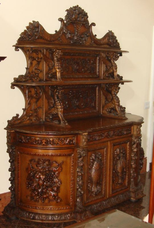 Antique carved dining set th c grapes dragons