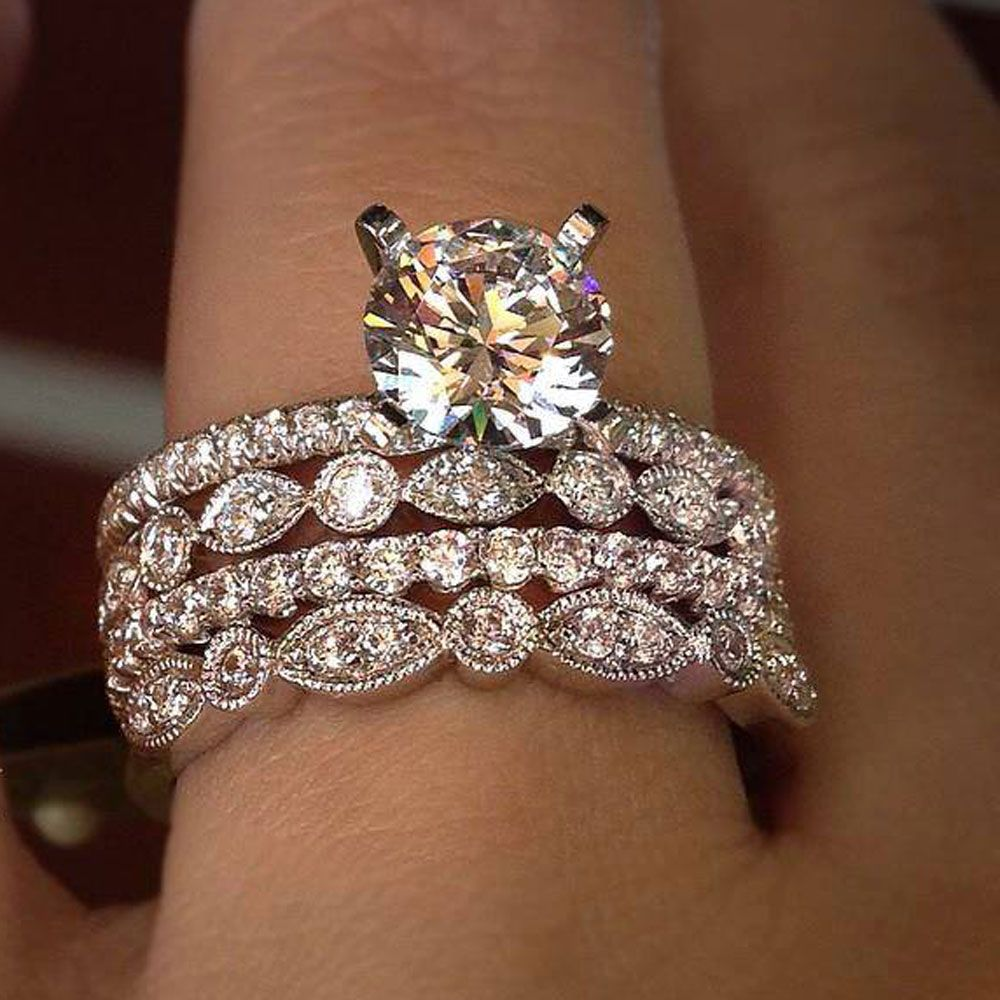Solitaire Engagement Ring & Wedding Band. Brilliant