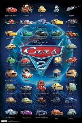 Cars 2 Movie Poster 40 Characters 22x34 Disney Pixar Lightning