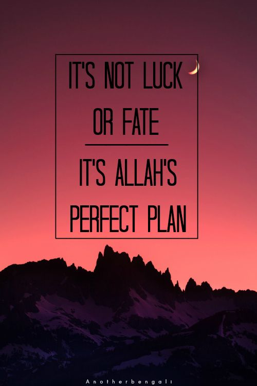 It S Not Luck Or Fate It S Allah S Perfect Plan Islamic
