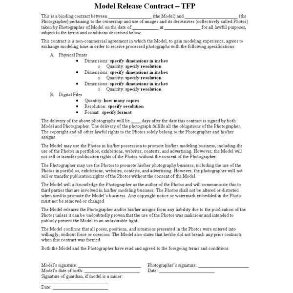 Contract Release Form Sample Construction Agreement Form Documents