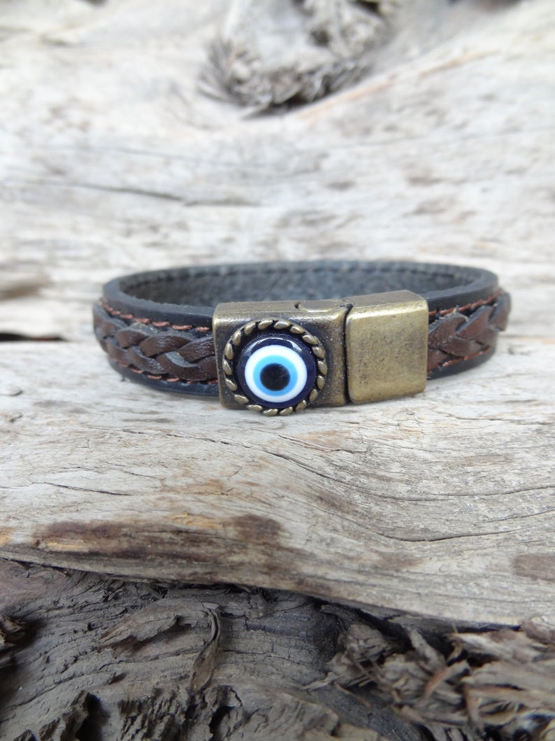 Father/'s Day Gifts Men/'s for Protection Black and Brown Braided Thick Leather Nazar Men/'s Evil Eye Bracelet Bronze Magnetic Evil Eye