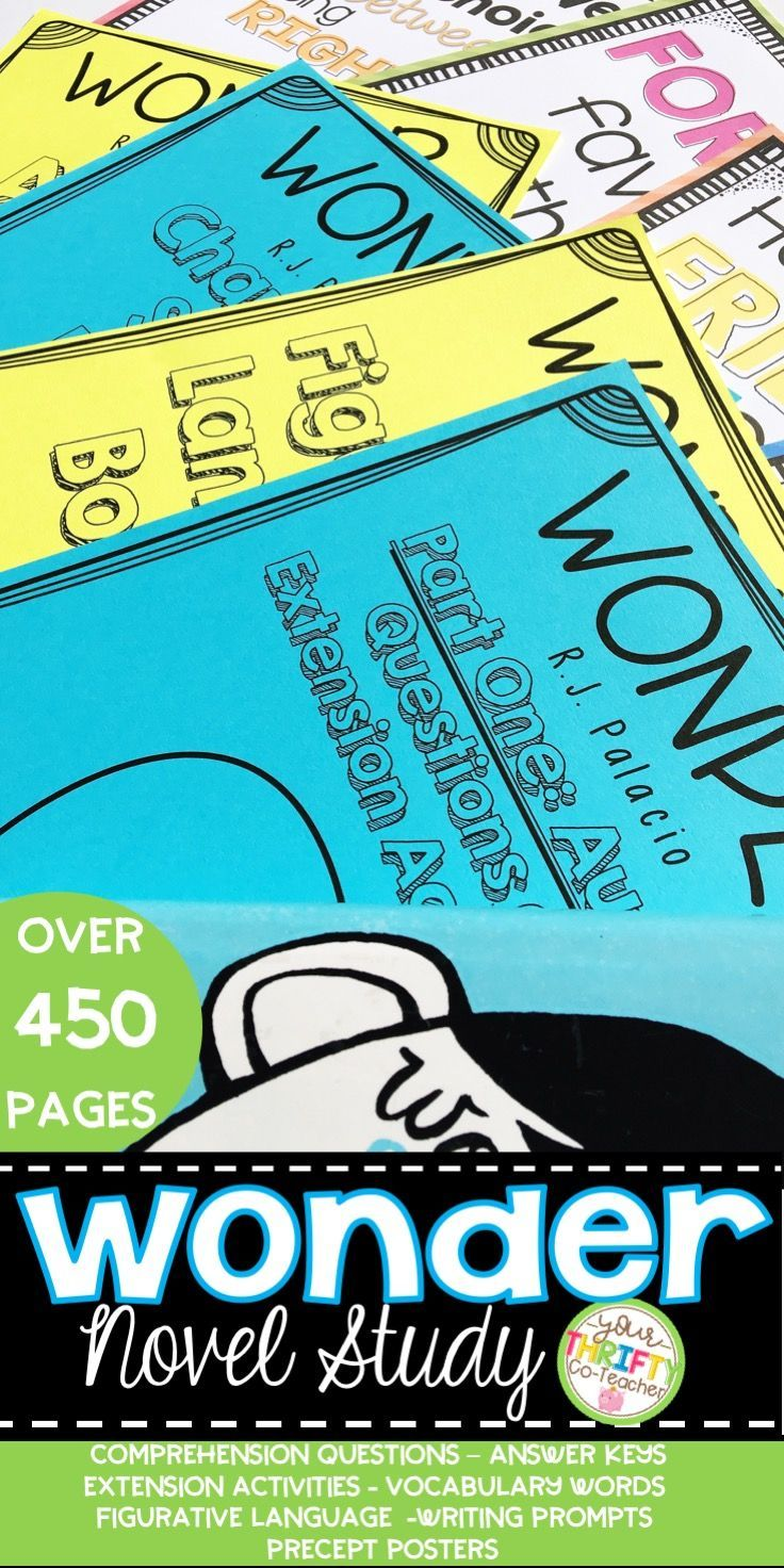 Wonder Novel Study Bundle - Wonder Activities Wonder by RJ Palacio |  Elementary Teaching Ideas | Pinterest | Wonder novel, Prompts and Novels