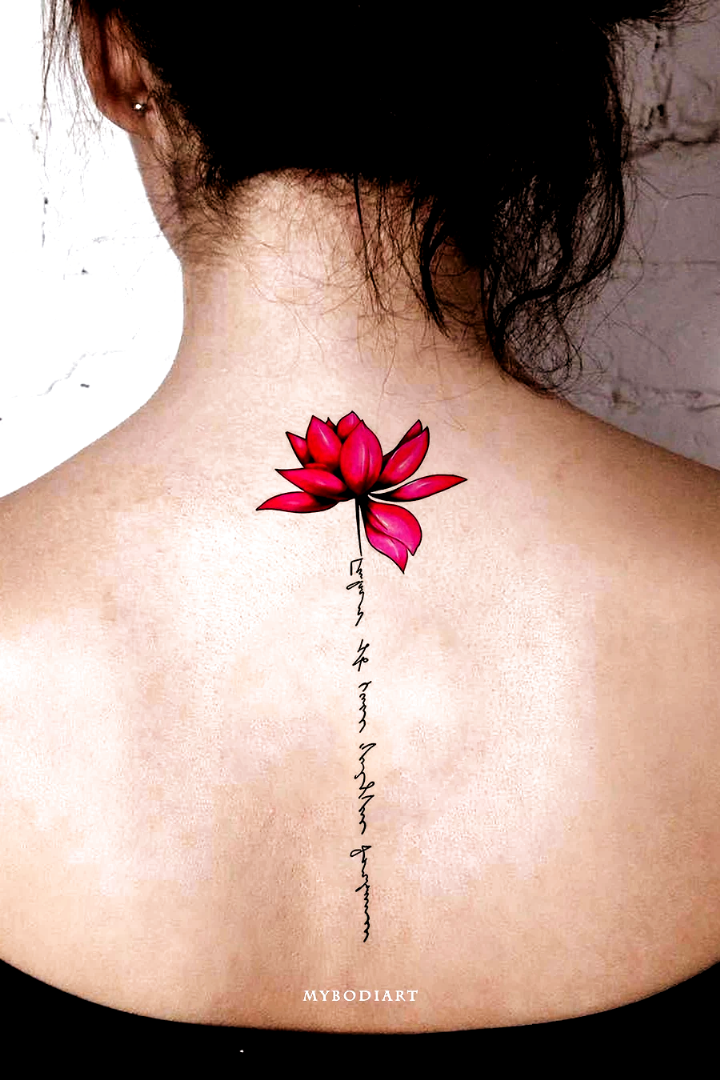 Cute Watercolor Pink Lily Lotus Script Quote Spine Tattoo Ideas For Women Back Floral Flower Tattoos I In 2020 Flower Spine Tattoos Spine Tattoos For Women Tattoos