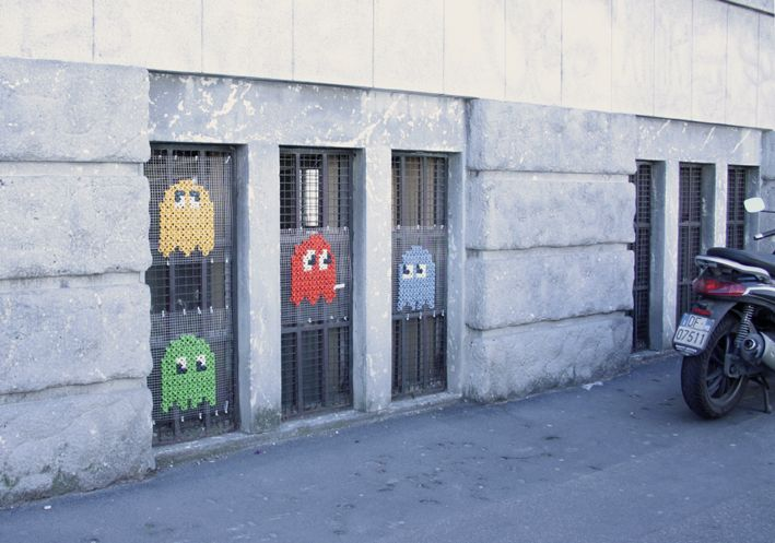 Cross Stitch Pac Man Ghosts on Window Guards in Milan, Italy by Miss Cross Stitch.