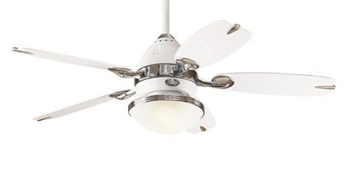 The Retro Ceiling Five Blade Ceiling Fan In White With Chrome Accents Hunter Fans Ceiling Fan In Kitchen Ceiling Fan Ceiling Fan Design