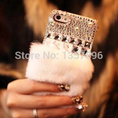 Luxo strass caso de diamante de cristal cabelo Real de pele de coelho Rex preguiçoso para iPhone 6 e 6 5S 5 4S 4 5c Capa Funda Carcasa