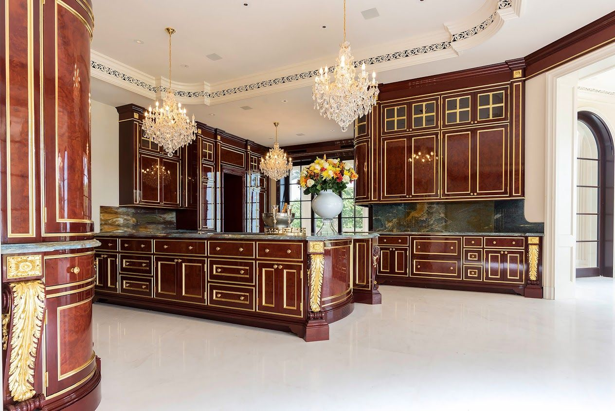 Royal Kitchen Design Idea The Kitchen Includes Solid Mahogany Cabinets Gold Leafing And Marb Luxury Home Decor Luxury Kitchen Design Luxury Kitchen Modern