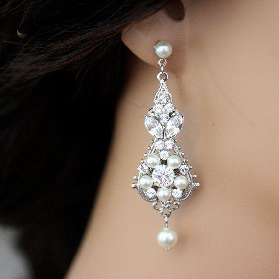 Pearl and crystal wedding earrings vintage bridal earrings small pearl and crystal wedding earrings vintage bridal earrings small chandelier earrings wedding jewelry swarovski crystal paris aloadofball Gallery