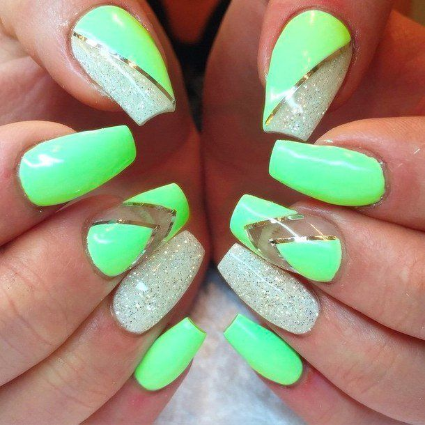Glitter Nail Ideas For Summer: Cute Green Nails For Women 2015