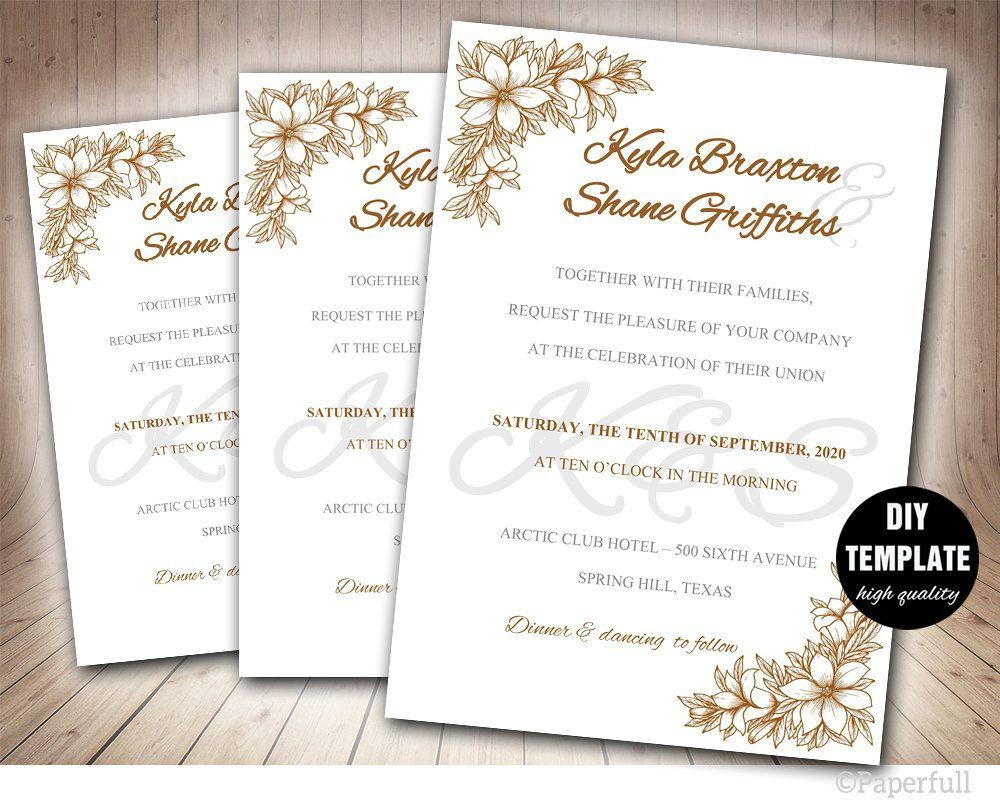 Floral Wedding Invitation Template,Instant Download DIY Wedding ...