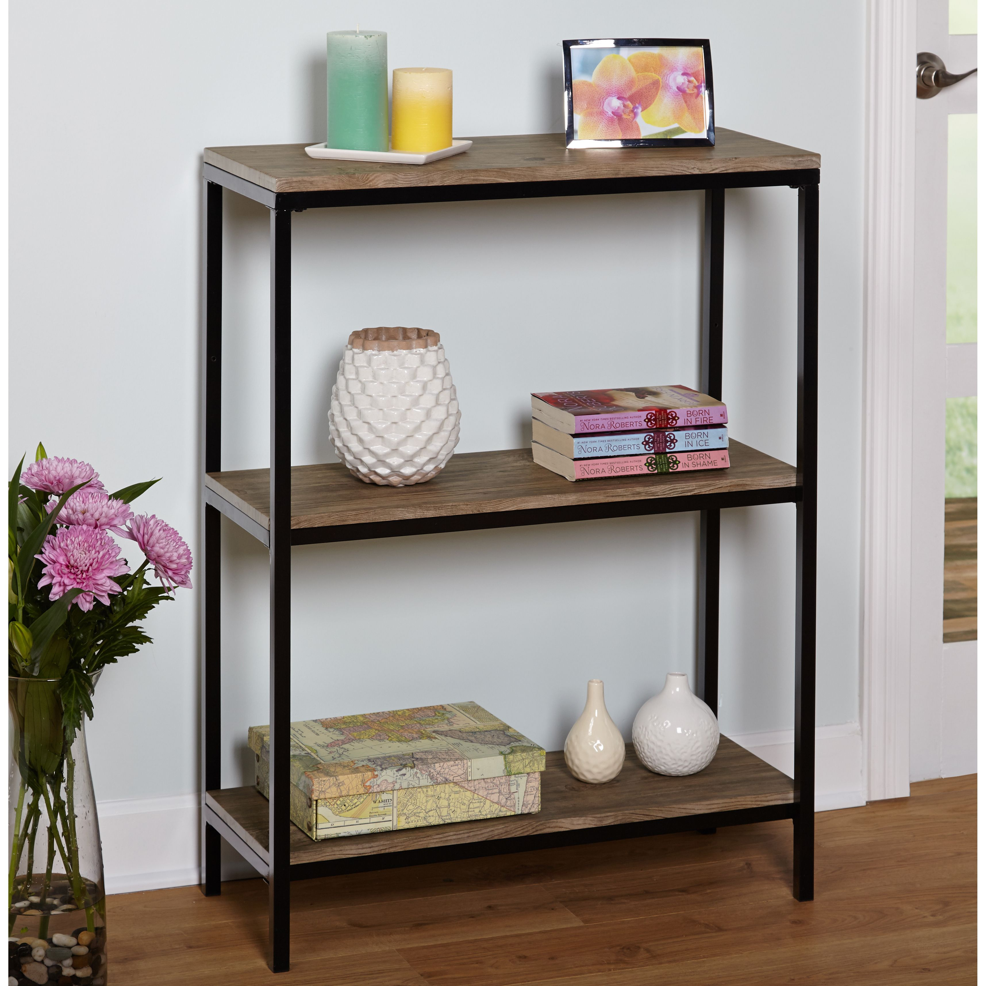 sturdy tier storage black office wood bookshelf p living ladder room of and cute shelf picture metal