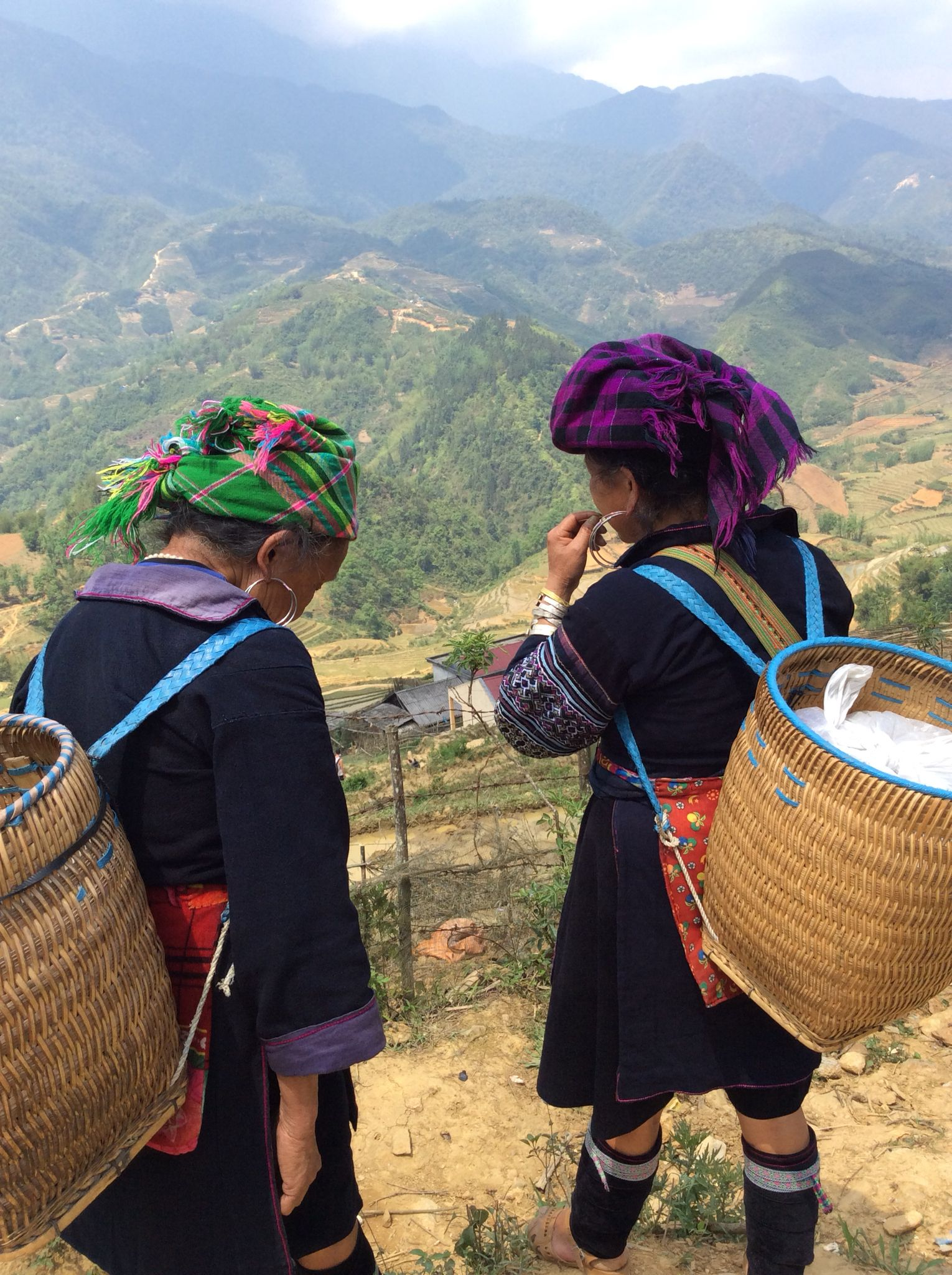 Black Hmong woman with their beautiful baskets April 20 2015