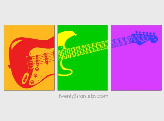 Electric Guitar Art Triptych, You Choose the Colors, Perfect Gift for any Music Lover or Guitar Player, or for Rock Star Nursery in Rainbow