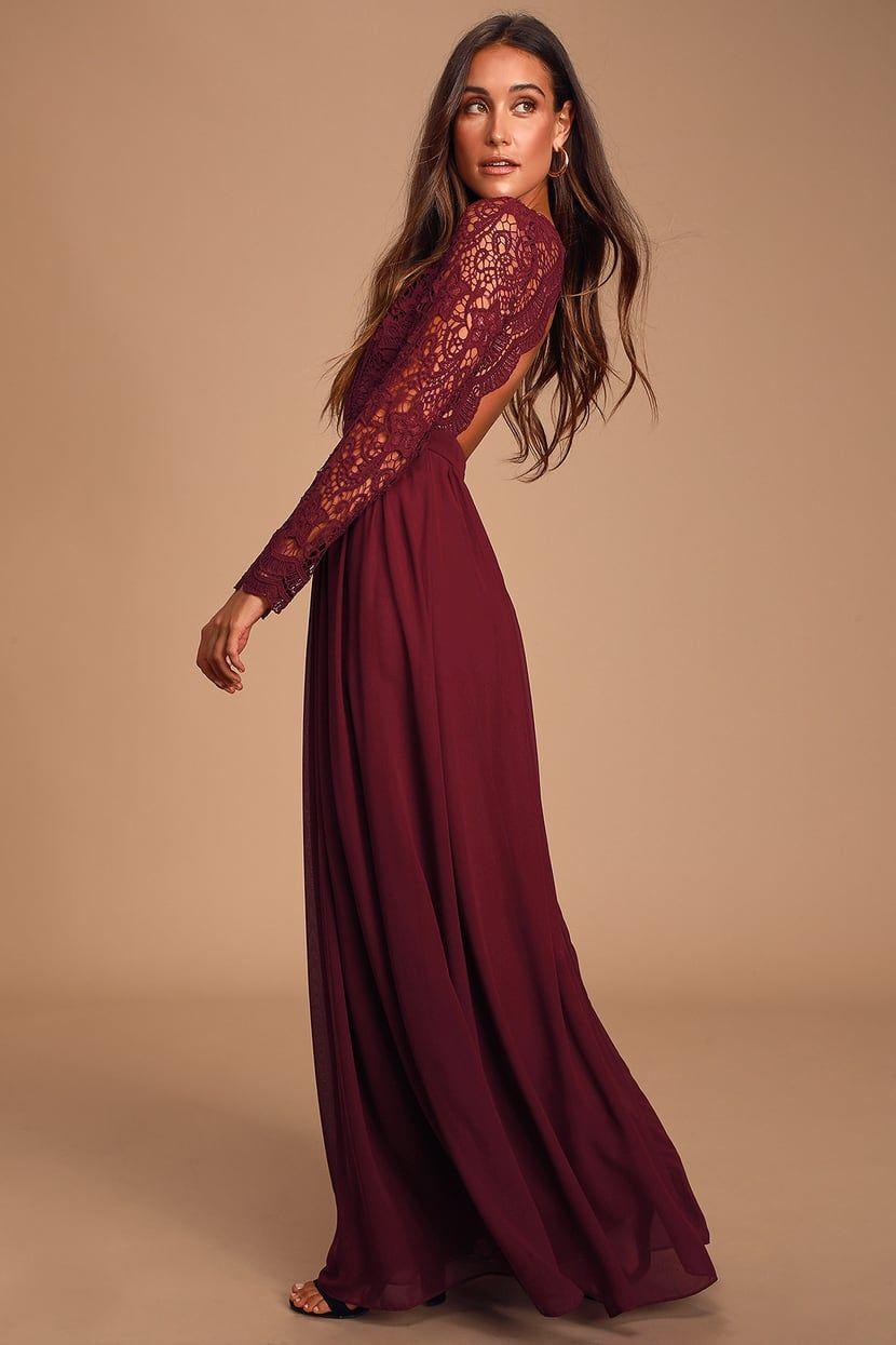 Awaken My Love Burgundy Long Sleeve Lace Maxi Dress Long Sleeve Lace Maxi Dress Long Sleeve Bridesmaid Dress Burgandy Bridesmaids Dress [ 1245 x 830 Pixel ]