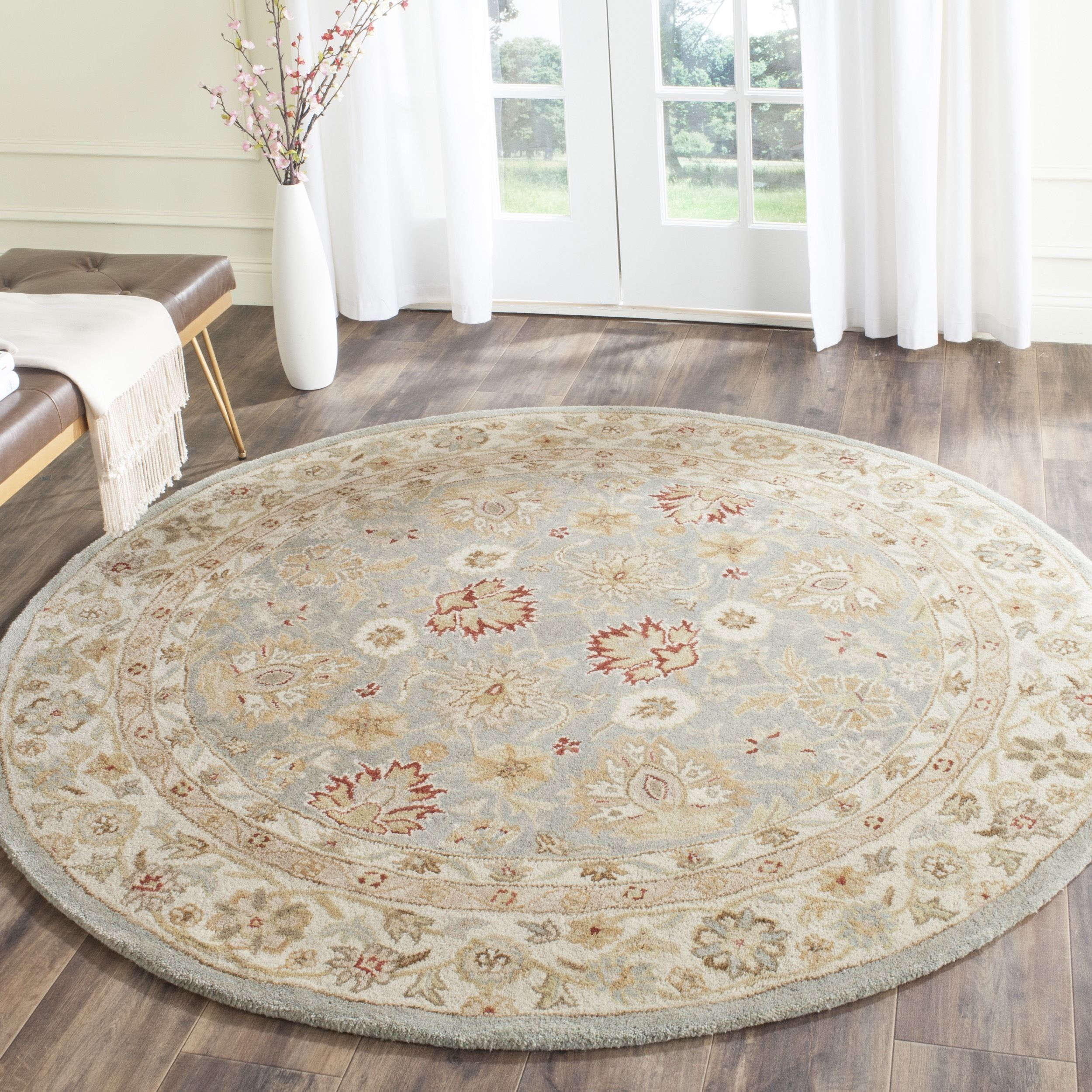 Safavieh Antiquity Grey Blue/ Beige Rug (8u0027 Round)