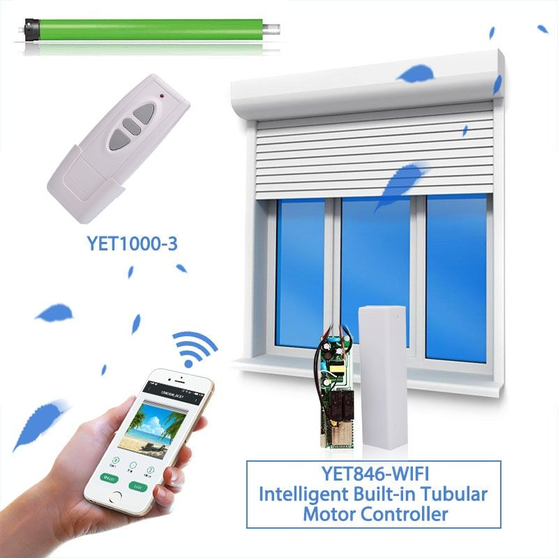 Smart Built In Tubular Motor Wifi Controller Yet846 Wifi You Can Control The Automatic Curtains And Automatic Do Rolling Shutter Roller Shutters Automatic Door