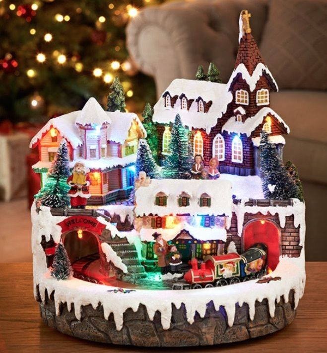 christmas village light up scene with church and train animated ornament