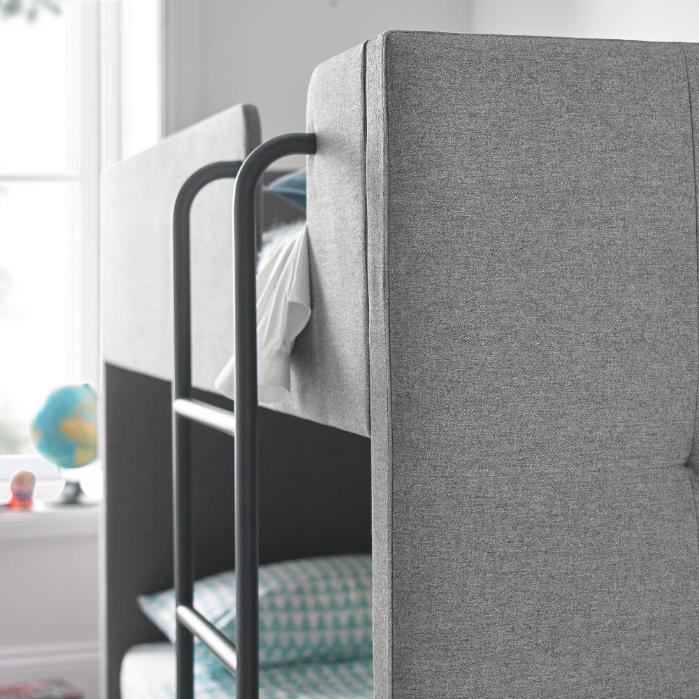 Saturn Grey Fabric Bunk Bed 3ft Single Bunk Beds Grey Fabric