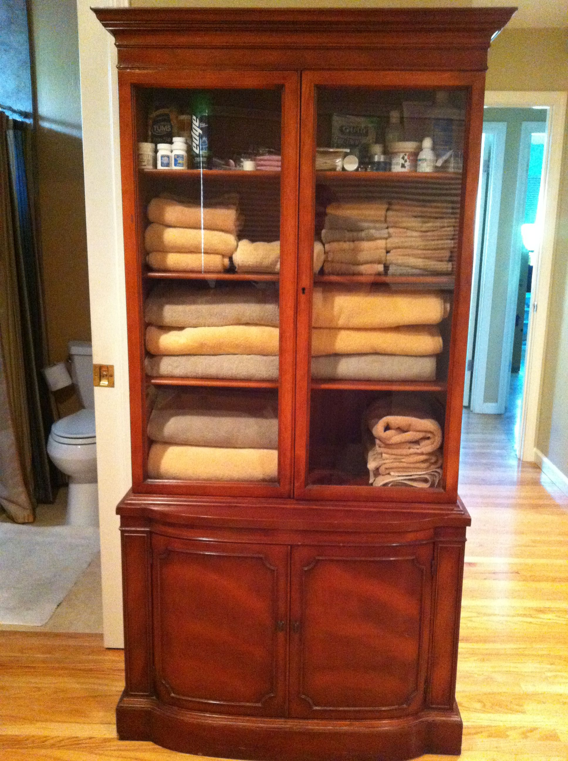 Low On Bathroom Storage, So Turned An Old China Cabinet Into A Place For  Towels