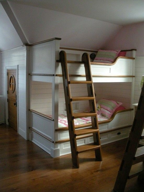 Wonderful Family Home Design With Warm Atmosphere : Fascinating Kids Bed Bubk With Ladder Family Camp Main House