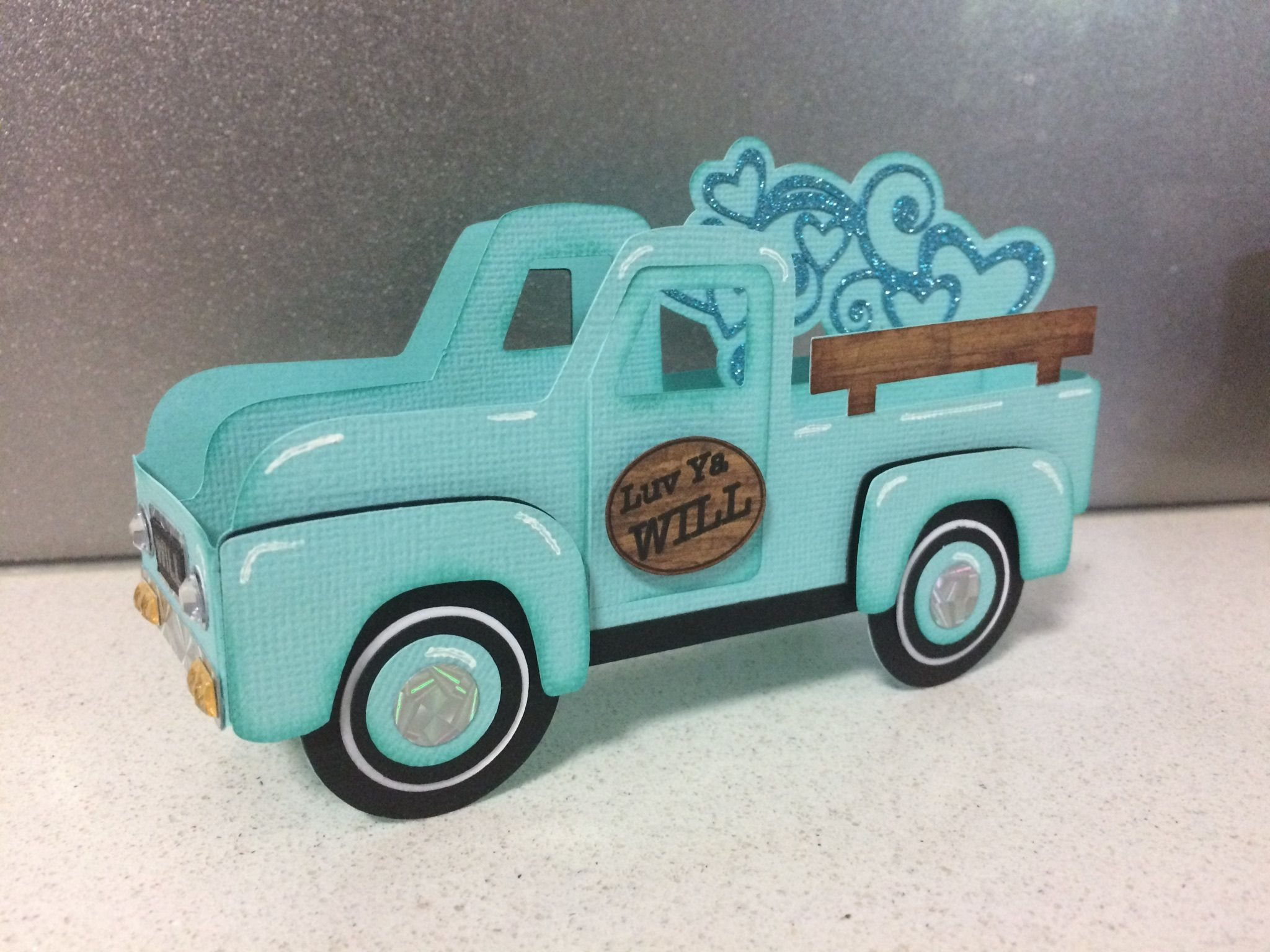 Vintage truck box card from svgcuts modified to be a