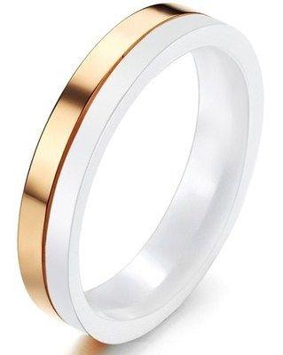 Kratzfest Ring aus Keramik Titan Rose Gold plattiert Design