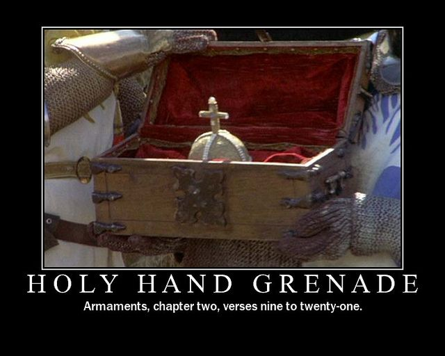 Holy Hand Grenade of Antioch - Monty Python Holy Grail - Terry Gilliam and  Terry Jones | Monty python, Python, Hand grenade