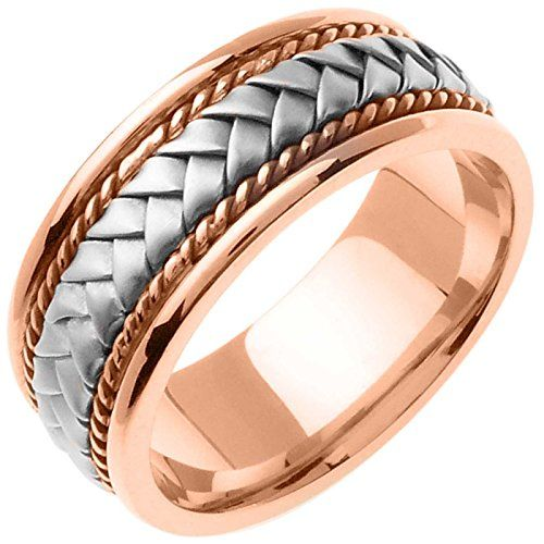 14k Two Tone Gold Braided Basket Weave Womens Comfort Fit Wedding Band 85mm Size8 For More Inf Mens Gold Wedding Band Braided Wedding Band Wedding Ring Bands