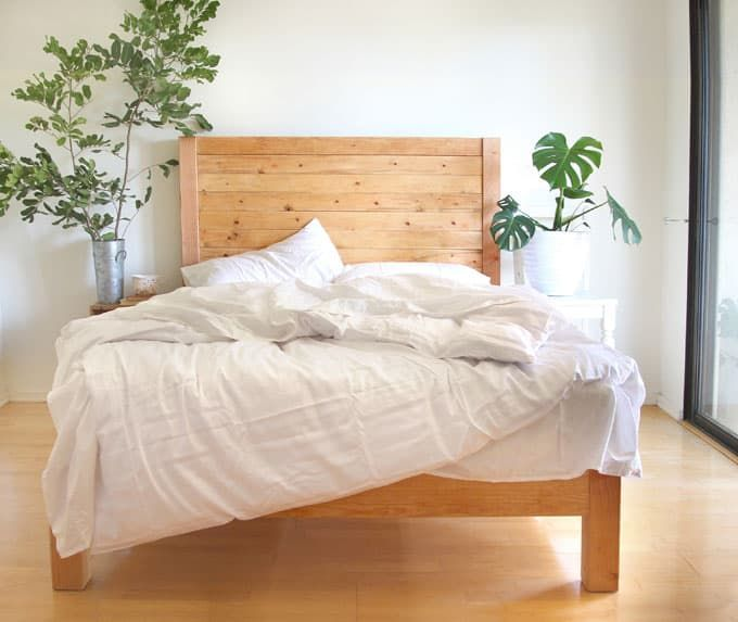How To Build A Beautiful DIY Bed Frame U0026 Wood Headboard Easily. Free Plan U0026  Variations On King, Queen U0026 Twin Size Bed, Best Natural Wood Finishes, And  More!