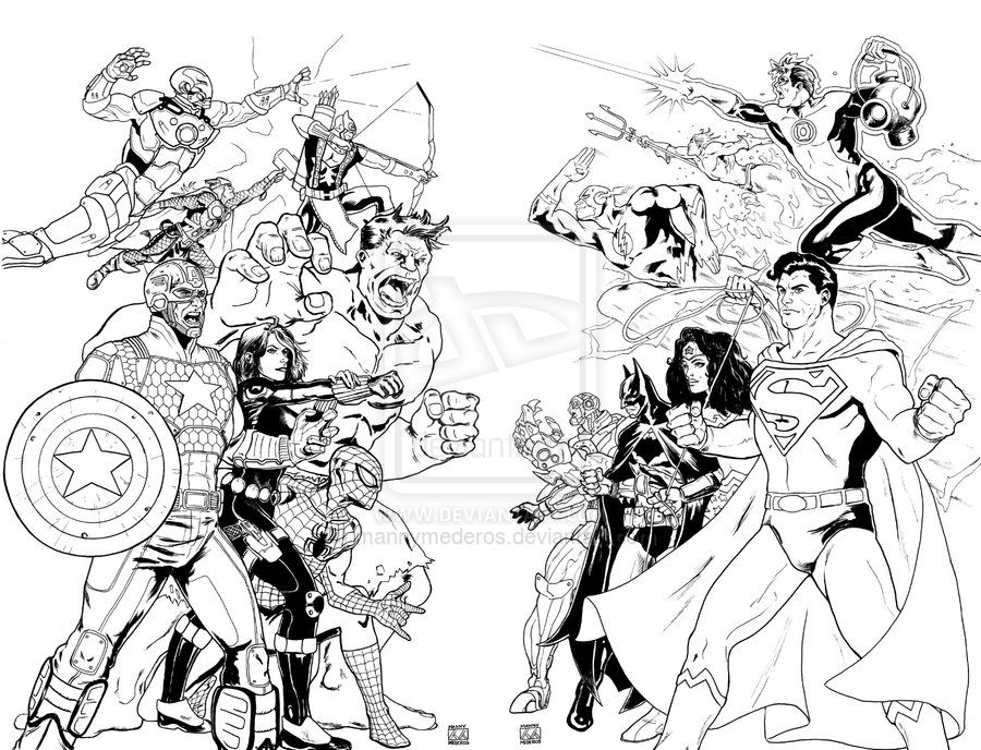 Avengers Vs Justice League By Mannymederos On Deviantart Avengers Vs Justice League Marvel Coloring Superhero Coloring Pages