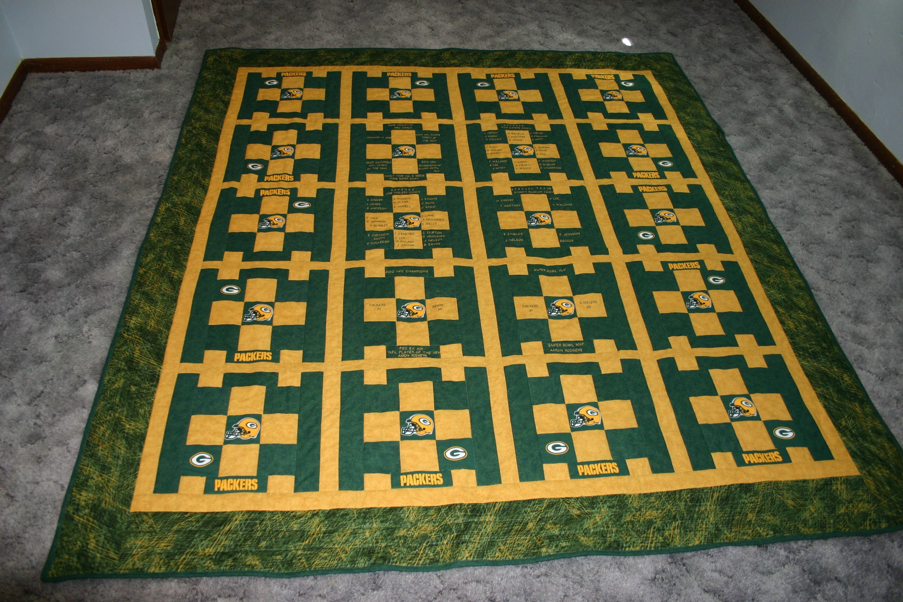 My First Attempt At Quilting Green Bay Packers Quilt Small Quilts Green Bay Packers Quilts