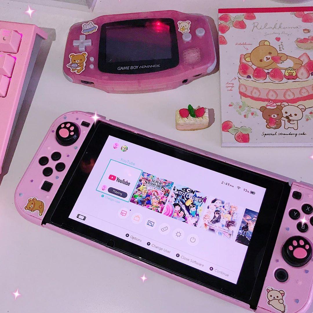 diy paintedcase paint switch nintendo kawaii pink