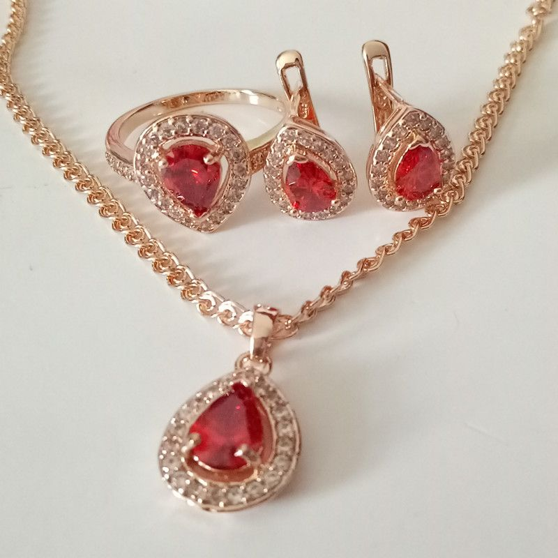 1Set Luxurious Wedding Jewelry Sets Rose Gold Color Red Zircon Heart