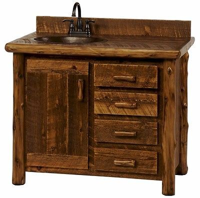 Picture Collection Website Custom Rustic Sawmill Camp Wood Log Cabin Lodge Pine Bathroom Vanity INCH
