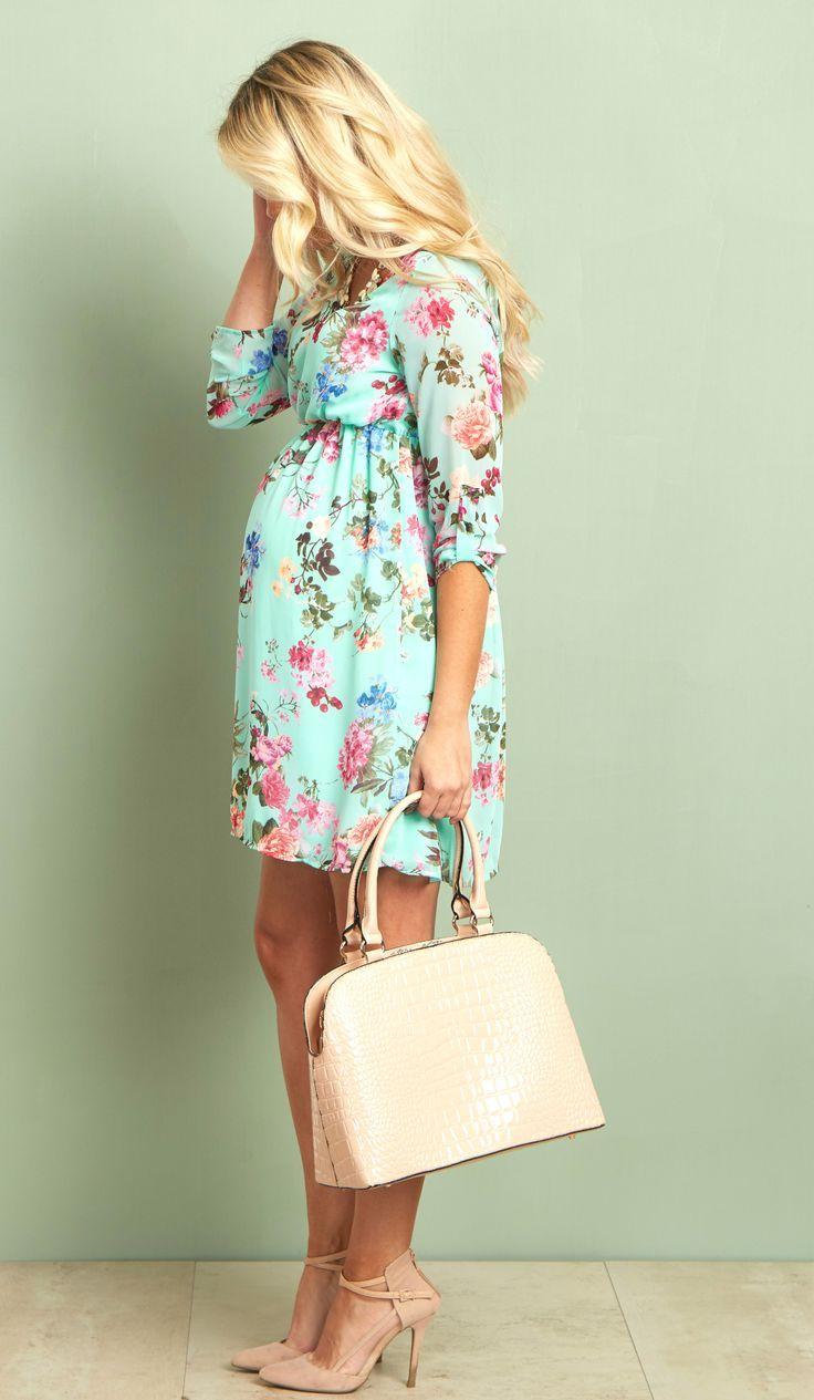 Mint floral chiffon maternity dress floral chiffon maternity mint floral chiffon maternity dress ombrellifo Images