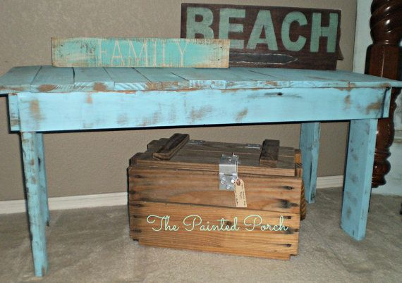 Pin By Deanna Fountain On Furniture Inspiration Blue Pallets Pallet Bench Unique Furniture